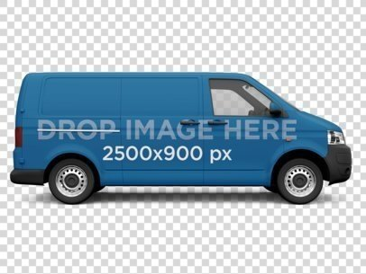 Side View of a Van Car Wrap Over a Transparent Background 11650