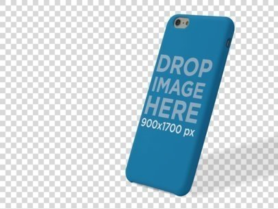 Phone Case Mockup of an iPhone 6 Leaning Over a PNG Background a10231