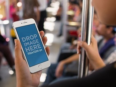 iPhone in Portrait Position Mockup of a Woman Riding the Subway in the Morning a12658