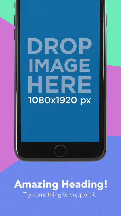 iOS Screenshot Builder Black iPhone 7 In Portrait Position Cut
