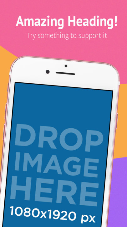 Pink iPhone Diagonal Portrait App Store Screenshot Generator