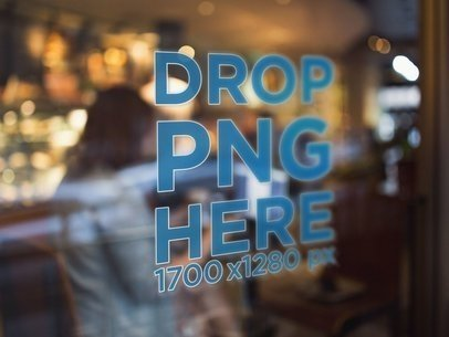 Store With Girls Chatting and a Window Decal in the Front Mockup a14442