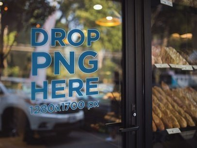 Light Angled View of a Window Decal on the Door of a Bakery Store Mockup a14436