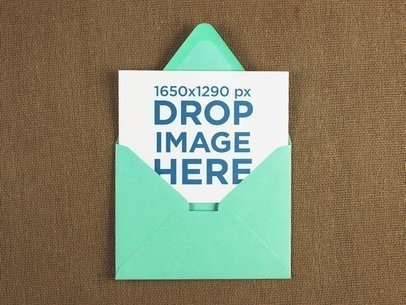 Invite Coming out of a Green Envelope Template a14695