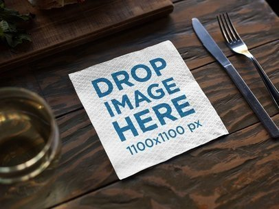 Napkin Template on a Dark Wooden Table Before Dinner a14770
