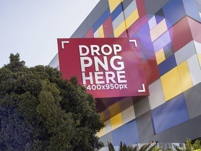 Mockup of a Storefront Logo on a Colorful Location in the City a14847