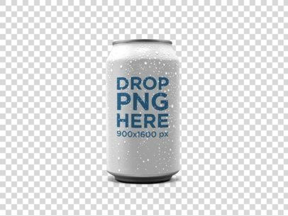 Beer Can Mockup Standing Against a Transparent Background a15054